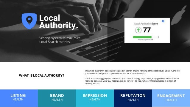 BRAND HEALTH IMPRESSION HEALTH LISTING HEALTH REPUTATION HEALTH ENGAGEMENT HEALTH Scoring system to maximize Local Search ...