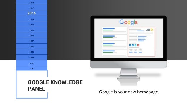 Google is your new homepage. 1998 2000 2004 2005 2008 2010 2013 2014 2016 2017 2018 2007 2006 GOOGLE KNOWLEDGE PANEL