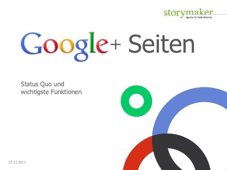 Seiten       Status Quo und       wichtigste Funktionen17.11.2011