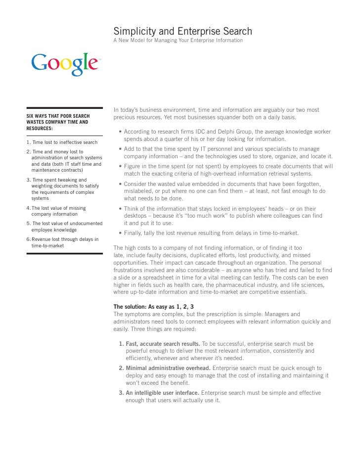 Simplicity and Enterprise Search                                      A New Model for Managing Your Enterprise Information...