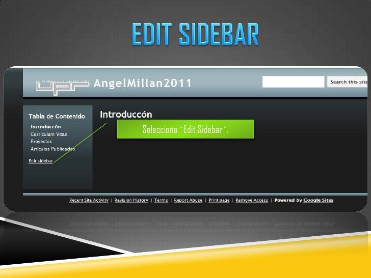 EDIT SIDEBAR<br />Selecciona ¨EditSidebar¨.<br />