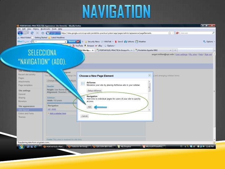 "NAVIGATION<br />SELECCIONA ""NAVIGATION"" (ADD).<br />"