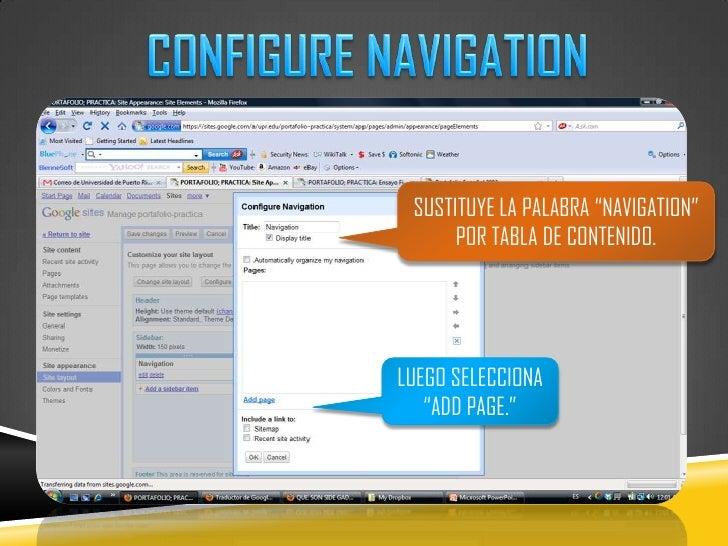 """CONFIGURE NAVIGATION<br />SUSTITUYE LA PALABRA """"NAVIGATION"""" POR TABLA DE CONTENIDO.<br />LUEGO SELECCIONA """"ADD PAGE.""""<br />"""