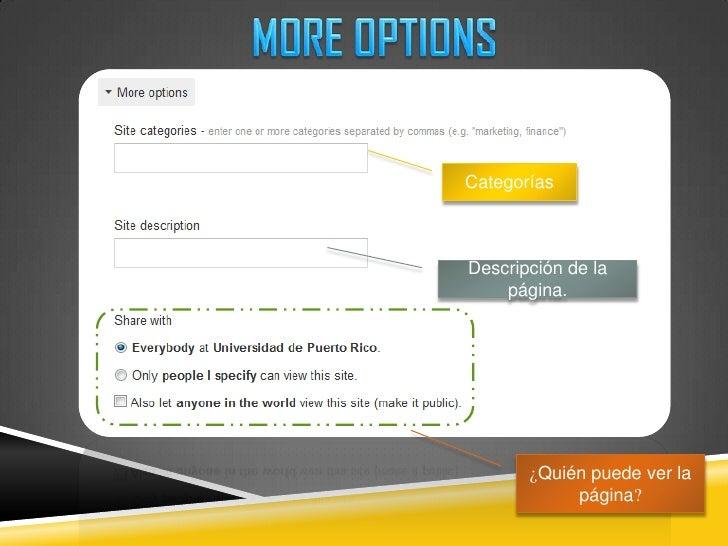 MORE OPTIONS<br />Categorías<br />Descripción de la página.<br />¿Quién puede ver la página?<br />