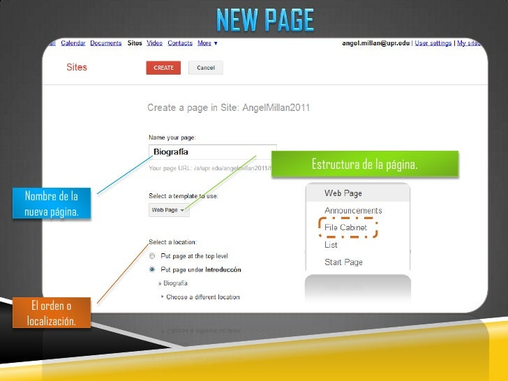 NEW PAGE<br />Estructura de la página.<br />Nombre de la nueva página.<br />El orden o localización.<br />