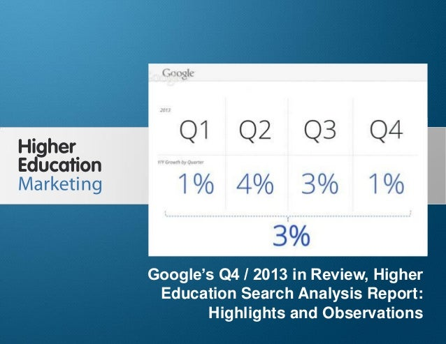 Google's Q4 / 2013 in Review, Higher Education Search Analysis Report: Highlights and Observations Slide 1 Google's Q4 / 2...