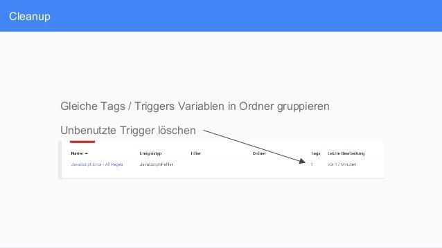 Cleanup Gleiche Tags / Triggers Variablen in Ordner gruppieren Unbenutzte Trigger löschen