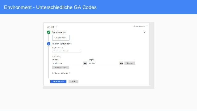 Environment - Unterschiedliche GA Codes