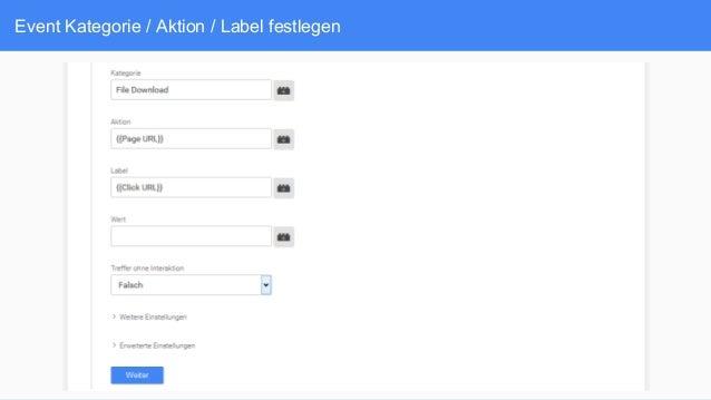 Event Kategorie / Aktion / Label festlegen