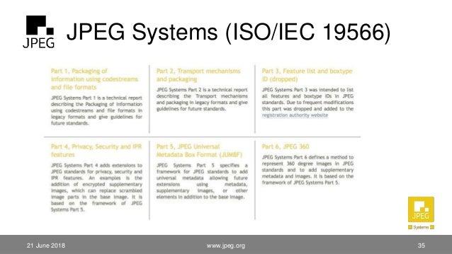 JPEG Systems (ISO/IEC 19566) 21 June 2018 www.jpeg.org 35