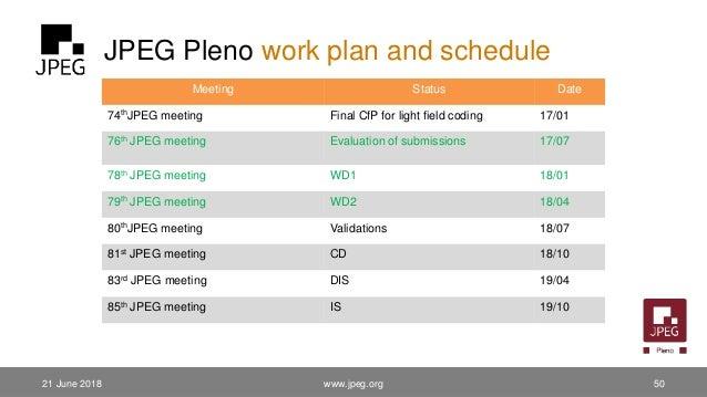 JPEG Pleno work plan and schedule www.jpeg.org 50 Meeting Status Date 74thJPEG meeting Final CfP for light field coding 17...