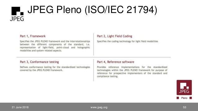 JPEG Pleno (ISO/IEC 21794) 21 June 2018 www.jpeg.org 53