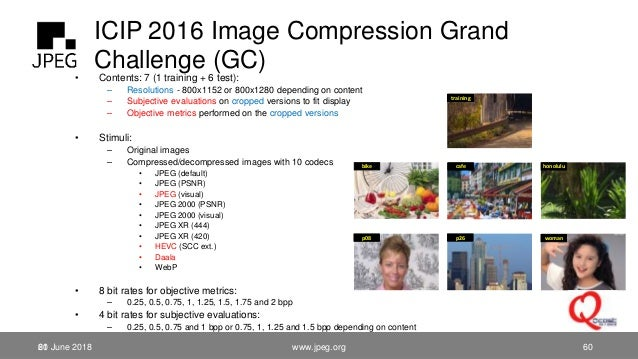 ICIP 2016 Image Compression Grand Challenge (GC)• Contents: 7 (1 training + 6 test): – Resolutions - 800x1152 or 800x1280 ...