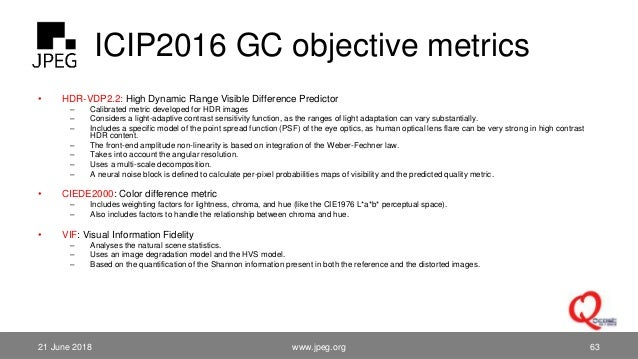 ICIP2016 GC objective metrics • HDR-VDP2.2: High Dynamic Range Visible Difference Predictor – Calibrated metric developed ...