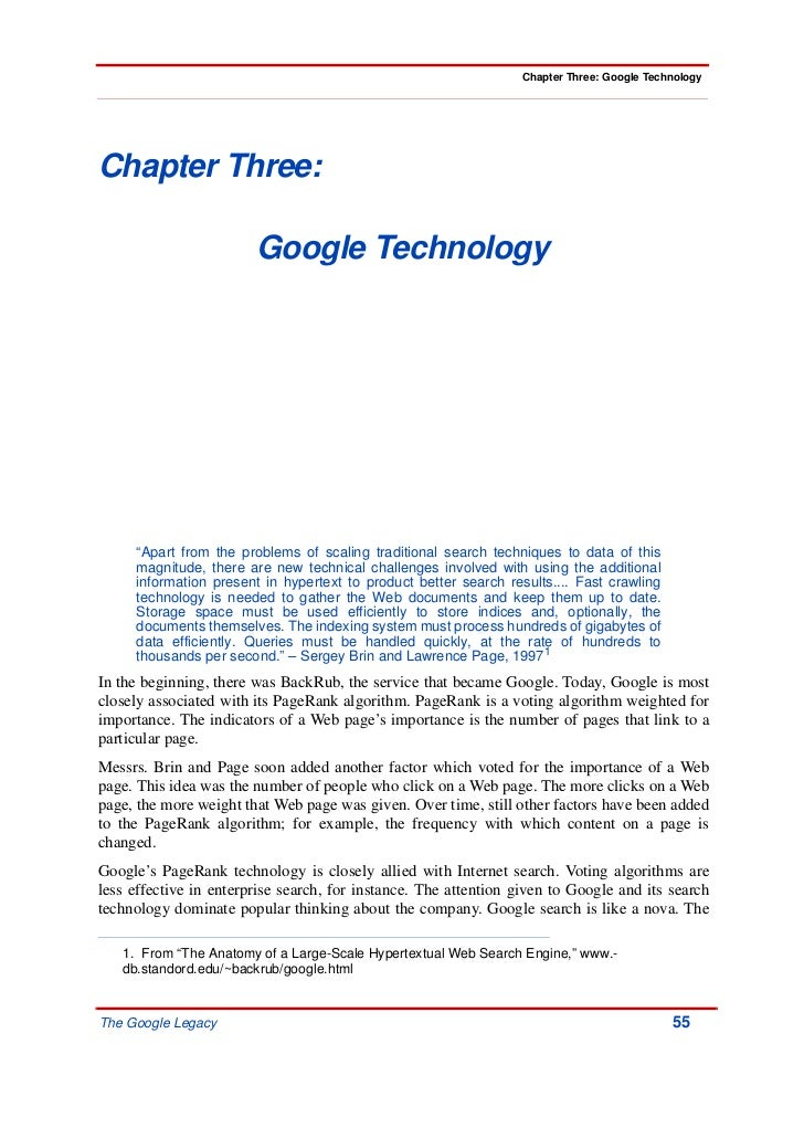 """Chapter Three: Google TechnologyChapter Three:                        Google Technology     """"Apart from the problems of sc..."""