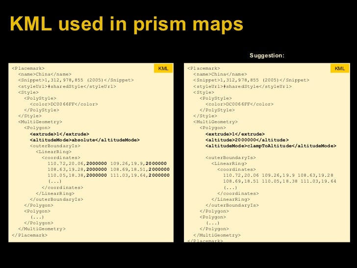 KML used in prism maps