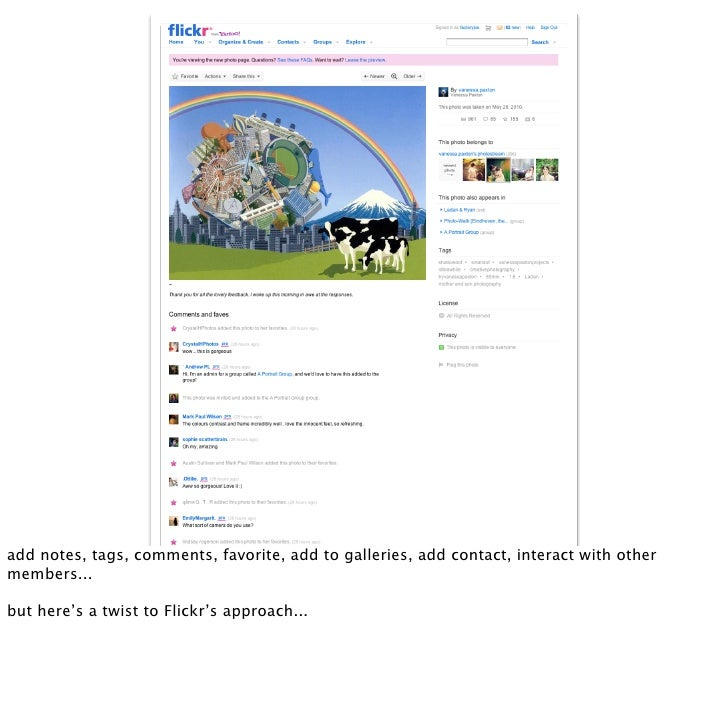 add notes, tags, comments, favorite, add to galleries, add contact, interact with other members...  but here's a twist to ...
