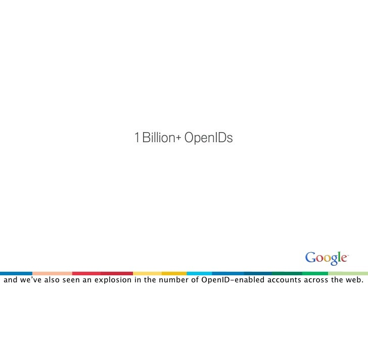 1 Billion+ OpenIDs     and we've also seen an explosion in the number of OpenID-enabled accounts across the web.
