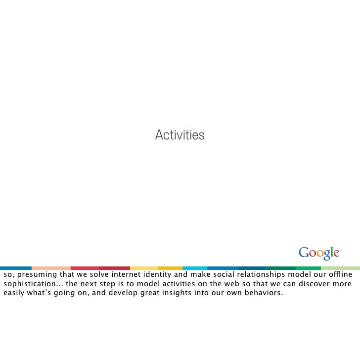 Activities     so, presuming that we solve internet identity and make social relationships model our offline sophisticatio...