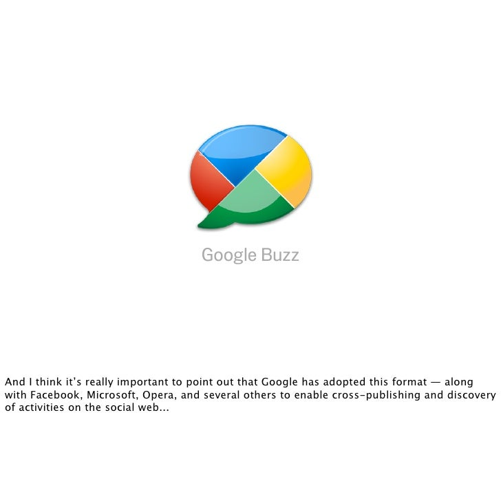 Google Buzz     And I think it's really important to point out that Google has adopted this format — along with Facebook, ...