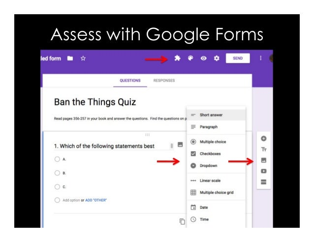 Surveys Charts Google forms & spreadsheets Assessment Research Collect work
