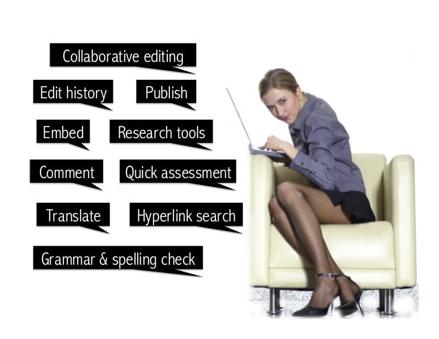 Collaborative editing Edit history Publish Comment Embed Translate Research tools Quick assessment Hyperlink search Gramma...