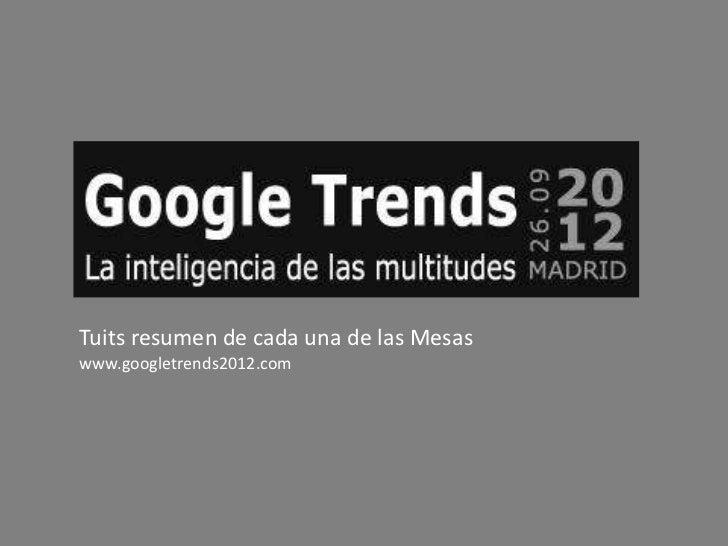 Tuits resumen de cada una de las Mesaswww.googletrends2012.com