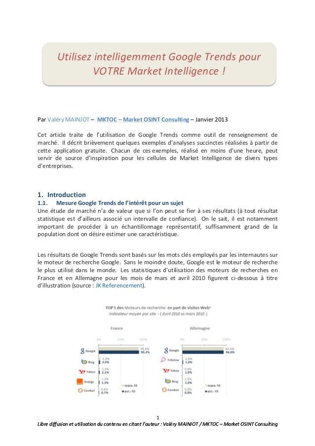 1 Libre diffusion et utilisation du contenu en citant l'auteur : Valéry MAINJOT / MKTOC – ...