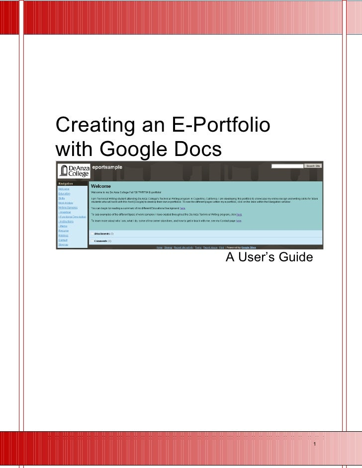 Creating an E-Portfolio with Google Docs                      A User's Guide                                        1