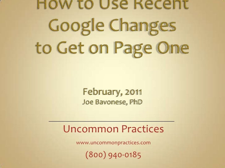 Google updates February 2011