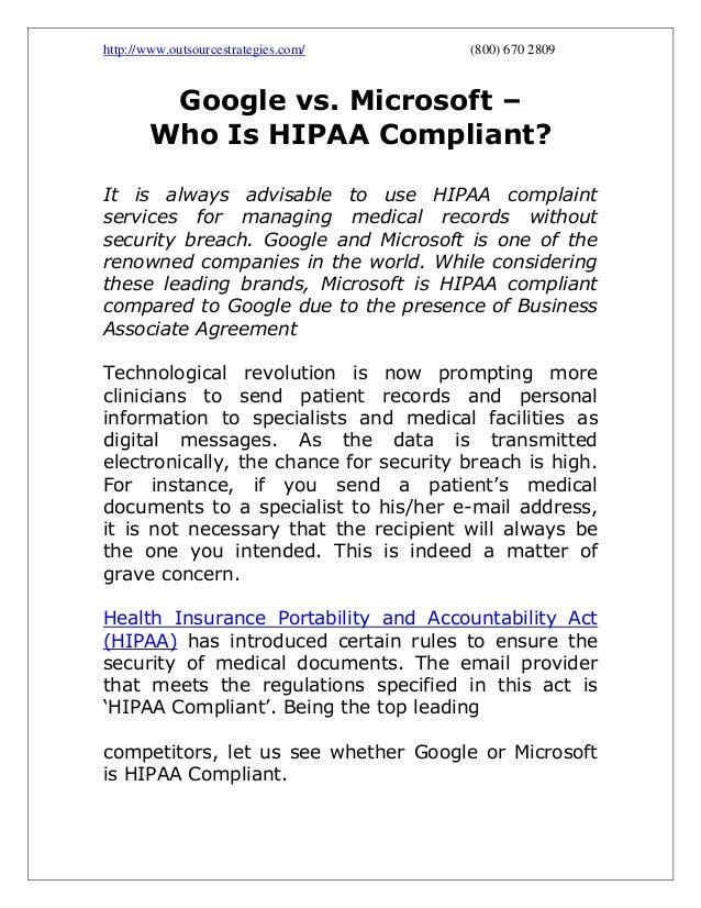 Google Vs Microsoft Who Is Hipaa Compliant