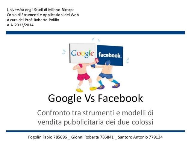 Google Vs Facebook Confronto tra strumenti e modelli di vendita pubblicitaria dei due colossi Fogolin Fabio 785696 _ Gionn...