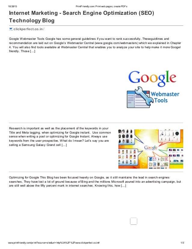 10/28/13  PrintFriendly.com: Print web pages, create PDFs  Internet Marketing - Search Engine Optimization (SEO) Technolog...