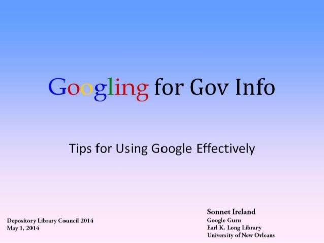 DLC 2014: Googling for Gov Info