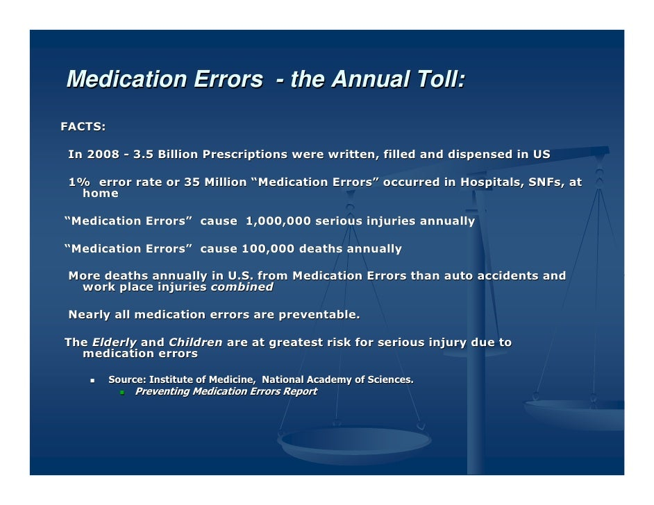 Medication Errors - the Annual Toll:FACTS: In 2008 - 3.5 Billion Prescriptions were written, filled and dispensed in US 1%...