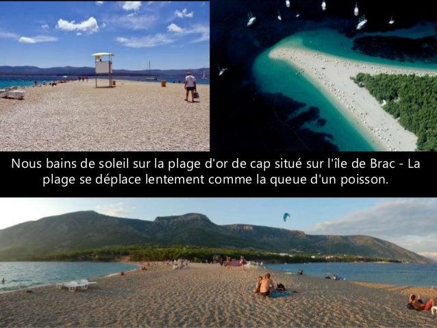 Nous bains de soleil sur la plage d'or de cap situé sur l'île de Brac - La plage se déplace lentement comme la queue d'un ...