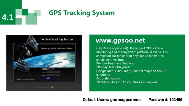 GPS Tracking System 4.1 www.gpsoo.net Car-Online (gpsoo.net), the largest GPS vehicle monitoring and management platform i...