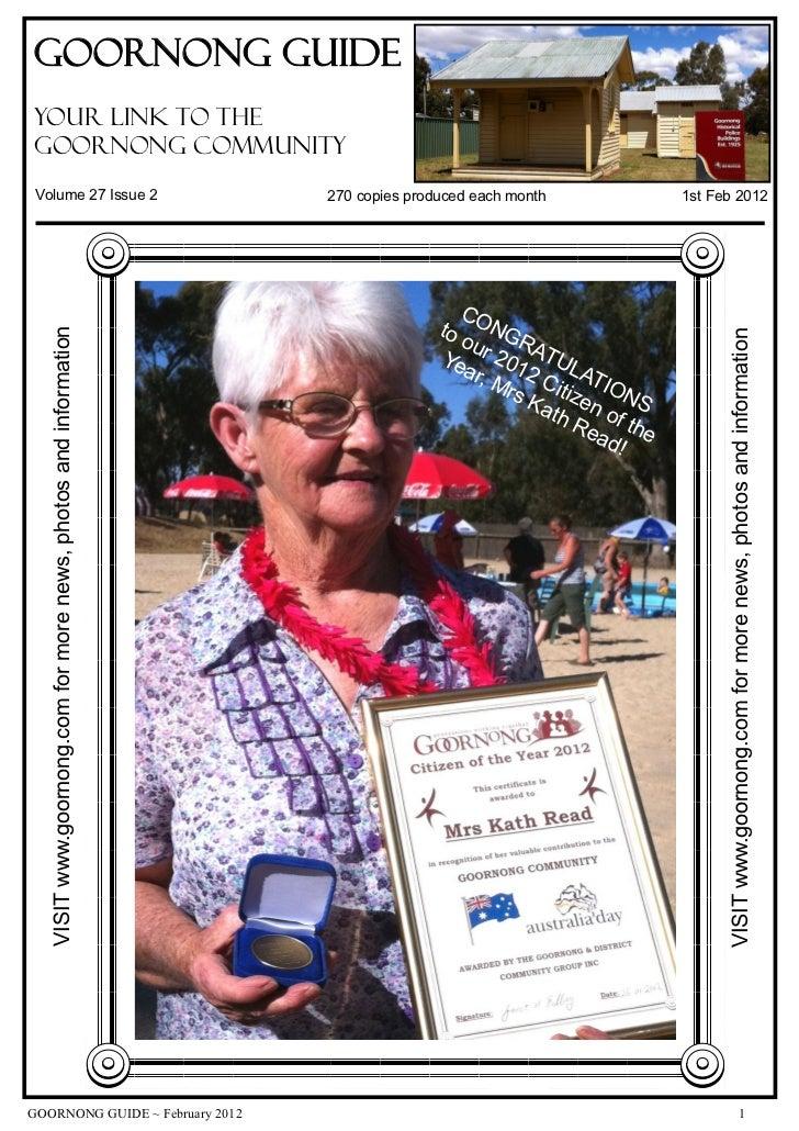 Goornong Guideyour link to theGoornong CommunityVolume 27 Issue 2                                                270 copie...