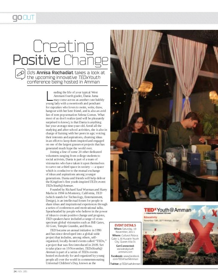 Out                 CreatingPositive Change             Go's Annisa Rochadiat takes a look at             the upcoming inn...