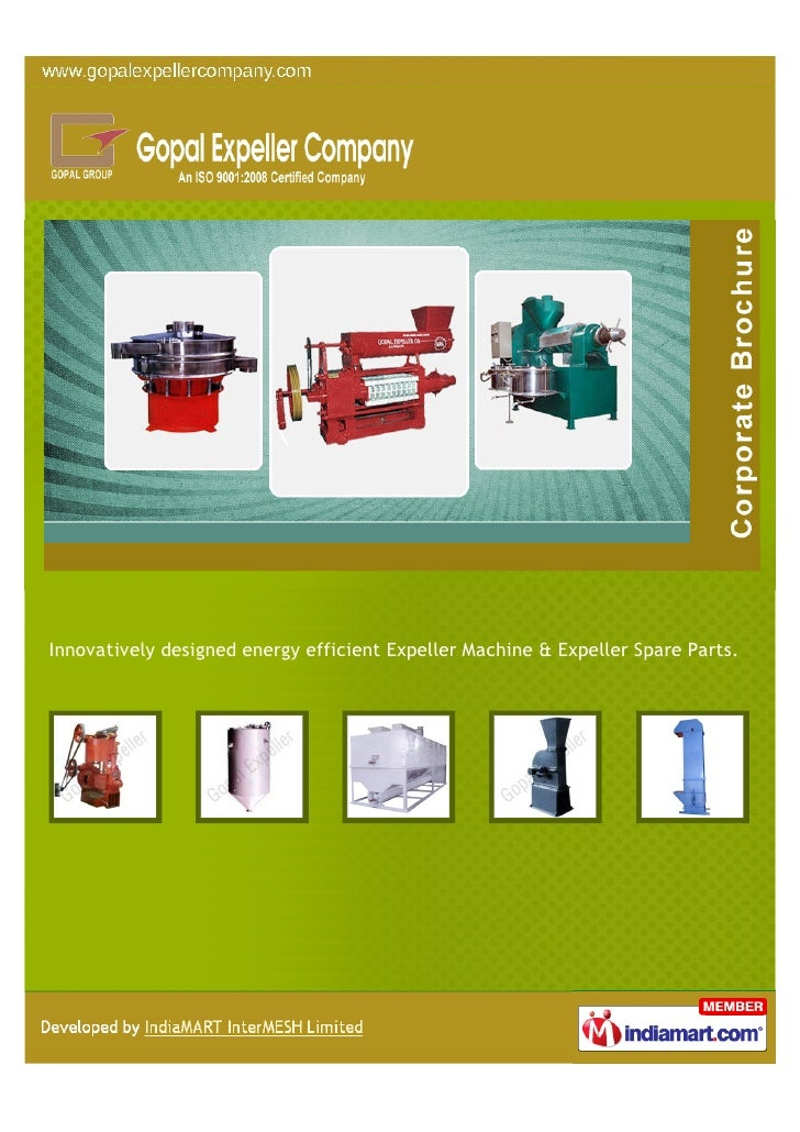 Innovatively designed energy efficient Expeller Machine & Expeller Spare Parts.