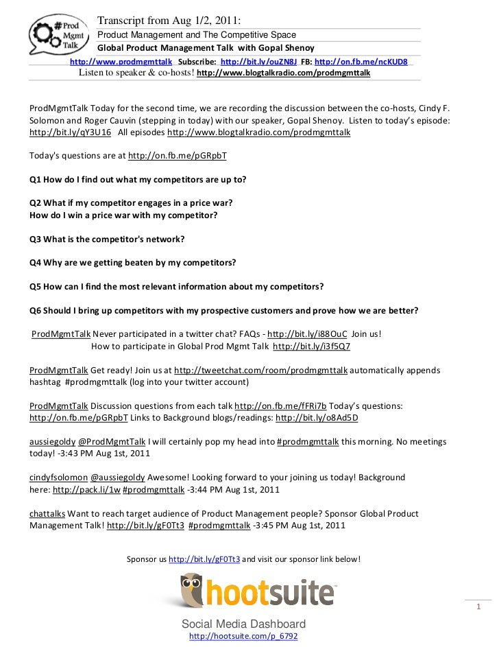 Transcript from Aug 1/2, 2011:                Product Management and The Competitive Space                Global Product M...