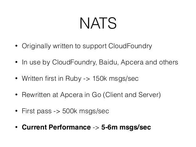 Protocol Parsing • NATS is a text based protocol • PUB foo.bar 2rnokrn • SUB foo.> 2rn • Ruby version based on RegEx • F...