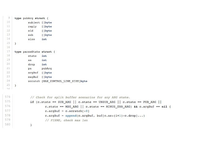 Subject Router • Tried to avoid []byte -> string conversions • Go's builtin hashmap was slow pre 1.0 • Built using hashing...