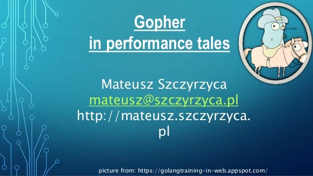 Gopher in performance tales Mateusz Szczyrzyca mateusz@szczyrzyca.pl http://mateusz.szczyrzyca. pl picture from: https://g...