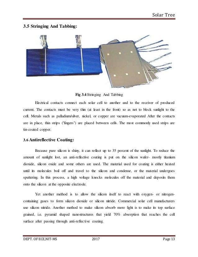 Solar Tree DEPT. OF ECE,NIT-MS 2017 Page 13 3.5 Stringing And Tabbing: Fig 3.4:Stringing And Tabbing Electrical contacts c...