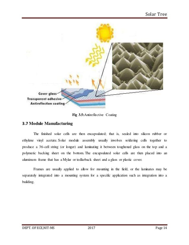 Solar Tree DEPT. OF ECE,NIT-MS 2017 Page 14 Fig 3.5:Antireflective Coating 3.7 Module Manufacturing The finished solar cel...