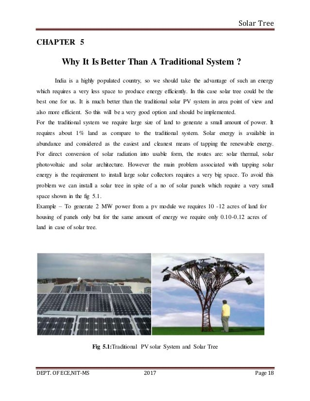 Solar Tree DEPT. OF ECE,NIT-MS 2017 Page 18 CHAPTER 5 Why It Is Better Than A Traditional System ? India is a highly popul...