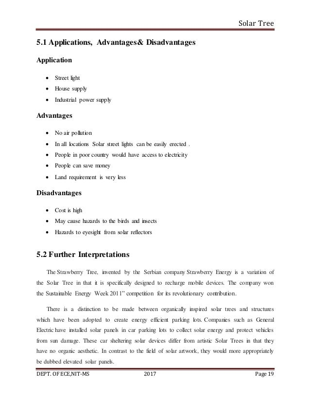 Solar Tree DEPT. OF ECE,NIT-MS 2017 Page 19 5.1 Applications, Advantages& Disadvantages Application  Street light  House...