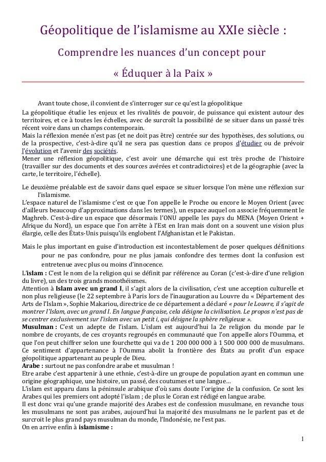 Géopolitique de l'islamisme au XXIe siècle : Comprendre les nuances d'un concept pour « Éduquer à la Paix » Avant toute ch...