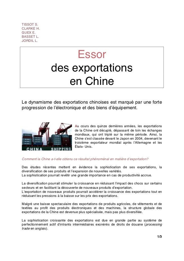 TISSOT S.CLARKE H.GUEX E.BASSET L.JORDIL L.                        Essor                   des exportations               ...